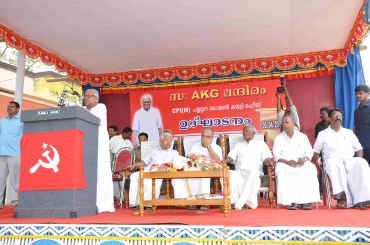 Kerala Chief Minister V S Achuthanandan addresses a meeting