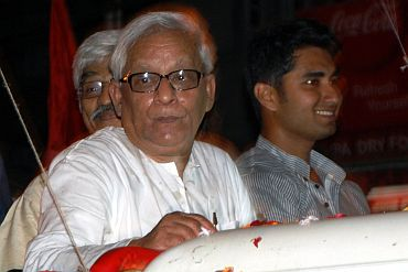 West Bengal CM Buddhadeb Bhattacharya addressing a campaign rally in Kolkata on Saturday