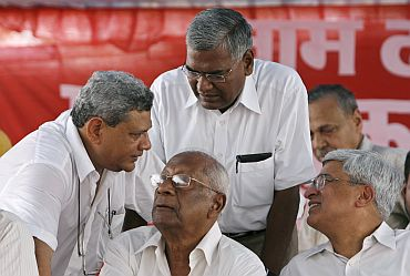 Left leaders Sitaram Yechury, A B Bardhan, A Raja and Prakash Karat in a protest rally in New Delhi