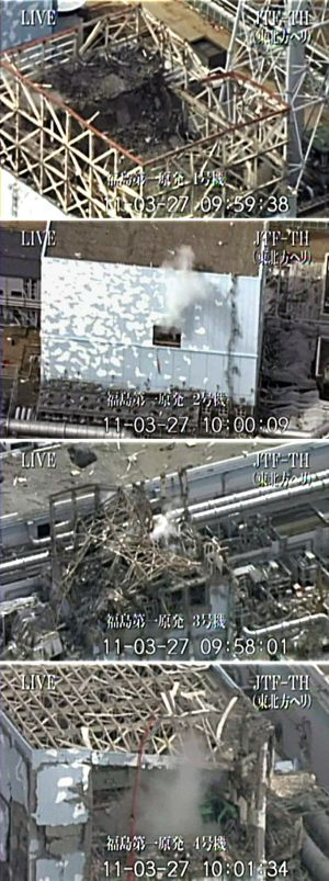 A handout combination photo from Kyodo shows (from top to bottom) No 1, No 2, No 3 and No 4 reactors at Tokyo Electric Power Co's Fukushima Daiichi Nuclear Power Plant