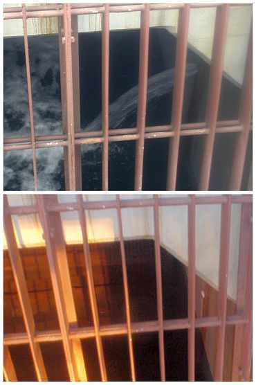 A combination photograph shows a concrete pit of the crippled Fukushima Daiichi Nuclear Power Plant No 2 reactor on April 2, 2011 (top) with radioactive contaminated water leaking through a crack and on April 6, 2011 (bottom), after engineers stemmed the flow into the sea in Fukushima prefecture