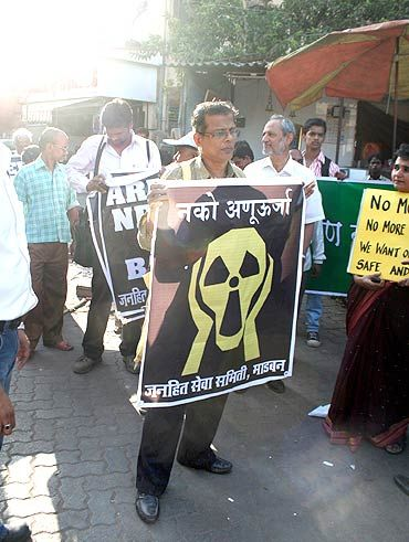 A protest march against the proposed Jaitapur nuclear power plant in Mumbai