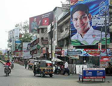 An election hoarding of Hibi Eden in Kochi