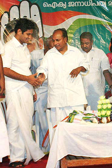 Hibi Eden at an election rally with Defence Minister A K Antony