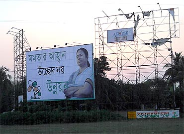 A Mamata Banerjee billboard in Rajarhat, bordering Kolkata, says: 'Mamata's call, not displacement, but progress'