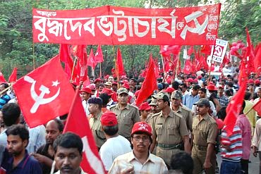 A rally in support of West Bengal Chief Minister Buddhadeb Bhattacharjee