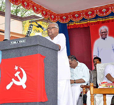 Former Kerala chief minister V S Achuthanandan addresses a public rally