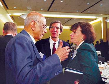 Dr V S Arunachalam (left) speaks to Jessica Mathews, president, of the Carnegie Endowment for International Peace (right) as George Perkovich, director of Carnegie's nonproliferation program and the author of the seminal book, India's Nuclear Bomb, looks on