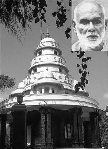 Sree Narayana Guru's ashram in Sivagiri. (Inset) Social reformer Sree Narayana Guru