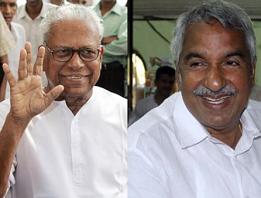 (Left) V S Achuthanandan. (Right) Congress leader Oomen Chandy