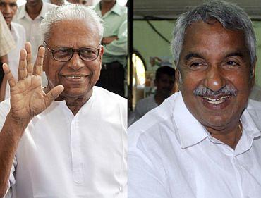 (Left) V S Achuthanandan. (Right) Congress leader Oomen Chandy