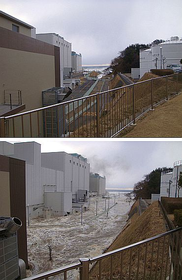 The compound of the Fukushima Dai-ni nuclear power plant is seen the moment before a tsunami hit (top) following the March 11, 2011 earthquake, and after (bottom), as water rushes into the compound in Fukushima prefecture, northern Japan, in combination picture made of two handout photos released by Tokyo Electric Power Co to Reuters