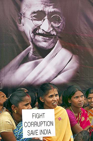 Supporters of Anna Hazare during a rally in Hyderabad