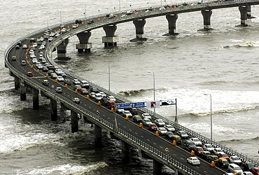 Traffic moves along the Bandra-Worli sea link in Mumbai