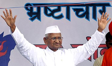 Social activist Anna Hazare during his fast unto death against corruption in New Delhi