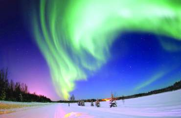 The aurora borealis spotted in Alaska in February 2008