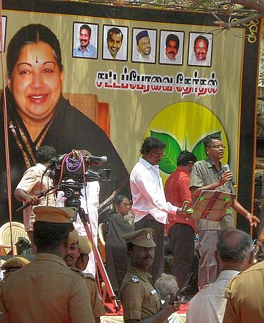 A campaign rally in support of AIADMK chief Jayalalithaa