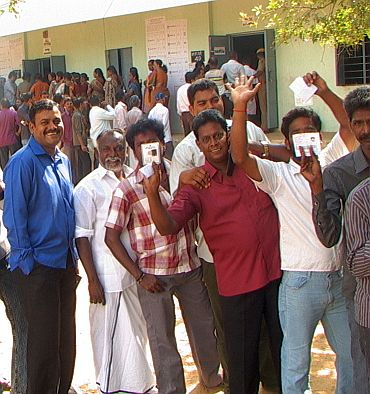 Voters in queue at a polling booth to cast their vote at Chengalpattu constituency
