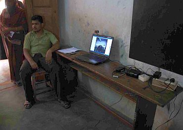 Web-camera monitors the election process at a polling station at Kanyakumari