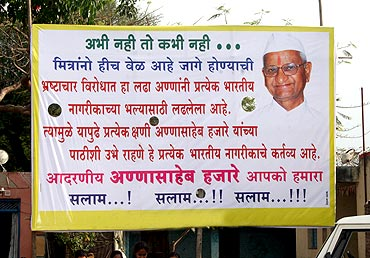 Banners put up in Anna Hazare's support, in his village Ralegan Siddhi, where Anna returned to a hero's welcome on April 11 after breaking his 97-hour long fast unto death in Delhi