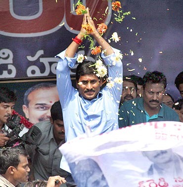 Jagan Mohan Reddy at his election campaign