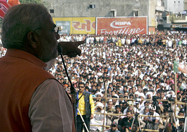 Narendra Modi addresses a public rally for the 2007 assembly elections at Godhra