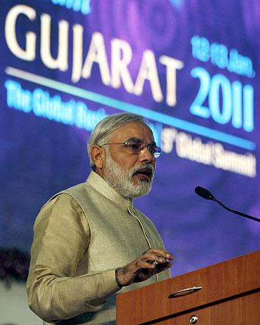 Narendra Modi speaks during the Vibrant Gujarat Global Investors' Summit 2011 at Gandhinagar