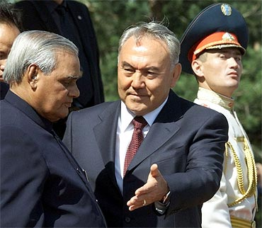 A file photo of Kazakh President Nursultan Nazarbayev with then prime minister A B Vajpayee in 2002