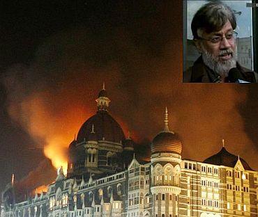 File photo of the Mumbai terror attack. (Inset) Tahawwur Hussain Rana