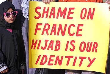 A demonstration against the ban on full face veils in France