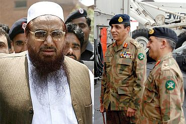 (Left) LeT chief Hafiz Saeed. (Right) ISI chief Shuja Pasha with Pakistan army Chief Ashfaq Kayani