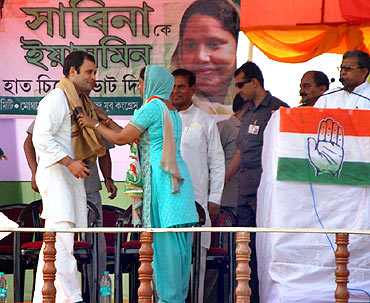 Rahul Gandhi at an election rally in West Bengal