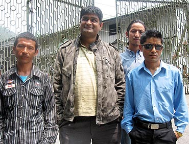 Mahendra Sharma (centre) along with other GJM supporters