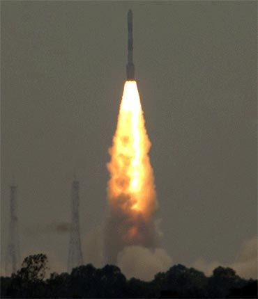 PSLV C-16 blasts off carrying RESOURCESAT-2, YOUTHSAT and X-SAT satellites from Sriharikota