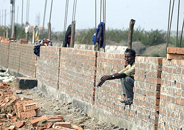 A farmer at a construction site in Singur.