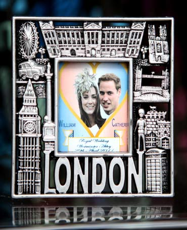 A Royal Wedding souvenir photo frame is displayed for sale in London