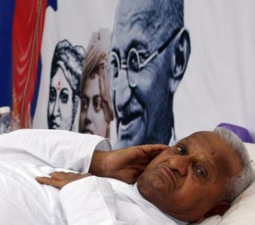 Anna Hazare on his hunger strike earlier in April