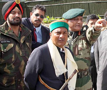Defence Minister AK Antony with Army Chief General VK Singh and Lieutenant-General Bikram Singh