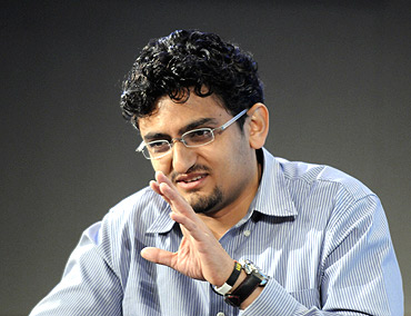 Internet activist Wael Ghonim of Egypt participates in a panel discussion on youth, jobs and growth in the Middle East and North Africa, during the International Monetary Fund and World Bank Spring Meetings at IMF headquarters in Washington