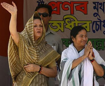 Congress President Sonia Gandhi with Trinamool chief Mamata Banerjee
