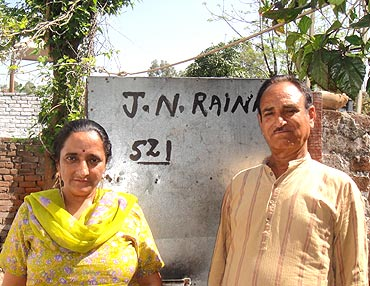 Mr and Mrs Raina have been given a flat in a township built for Kashmiri Pandits living in camps in Jammu