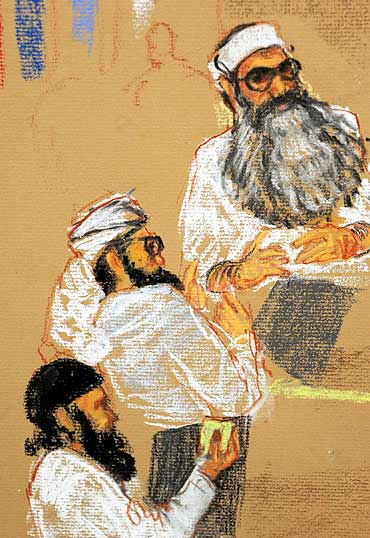 A sketch shows Khalid Sheikh Mohammed (top), Walid Bin Attash, (2nd from top), and Ramzi Bin al Shib
