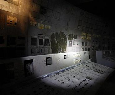 A view of the control centre of the damaged fourth reactor at the Chernobyl nuclear power plant