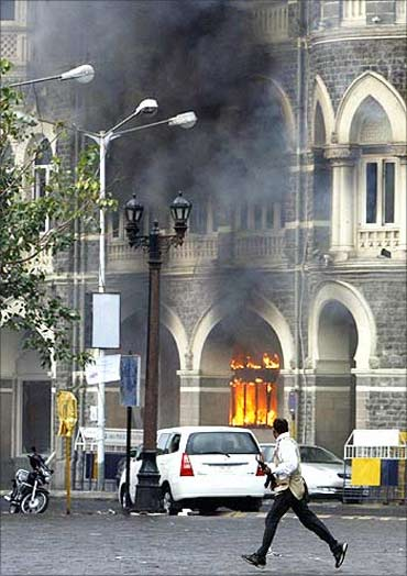 The Taj Mahal Hotel in Mumbai during the 26/11 attacks