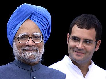 Prime Minister Manmohan Singh with Rahul Gandhi