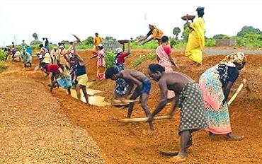 Workers participate in the NREGA scheme