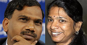 Former telecom minister A Raja and DMK chief Karunanidhi's daughter Kanimozhi