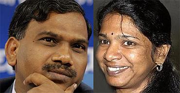 Former telecom minister A Raja and DMK chief Karunanidhi's daughter Kanimozhi