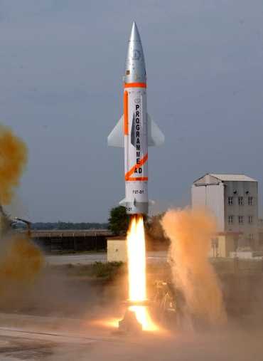 A modified Prithvi missile, simulating the enemy target, is launched from the integrated test range at Chandipur-on-sea for the advance air defence missile test