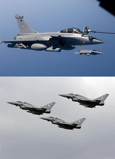 (Above) French Rafale (Below) Eurofighter.